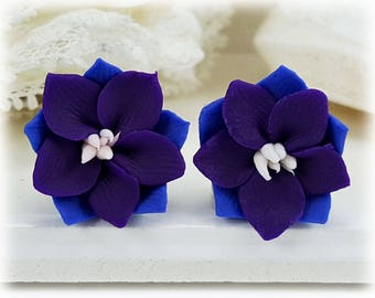 Purple Larkspur Earrings Stud or Clip On - Larkspur Jewelry, July Birthday Birth Flower