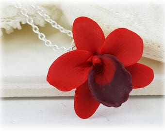 Red Orchid Necklace - Red Orchid Pendant Necklace, Red Orchid Jewelry