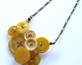 Christmas in July Sale Small Honey Gold and Mustard Yellow Vintage Button Necklace