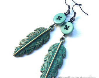 Aqua Button Dangle Earrings with Patina Feathers- Shabby Chic