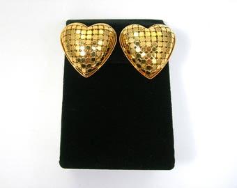 Golden Mesh Puffy Heart Clip Earrings - Vintage 1980s Fashion Jewelry - Romantic Love - Lightweight 3 Dimensional Goldtone Plastic Earrings