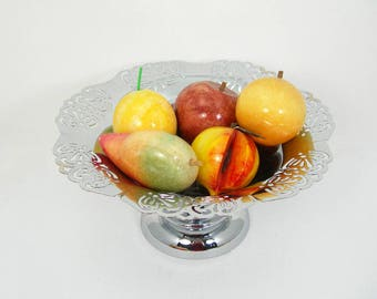 Alabaster Stone Fruit - 5 Colorful Pieces - Apple Mango Peach Orange Lemon - Display in Basket or Bowl - Vintage Mid-century Home Decor