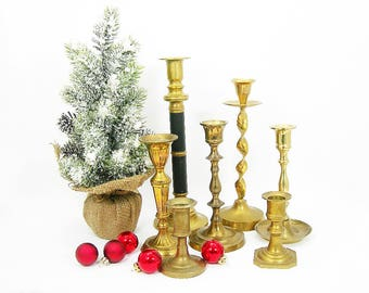 Brass Candle Sticks or Holders Lot of 7 - Mixed Vintage Styles and Sizes - Perfect for Weddings - Home, Christmas Mantle Decor - Crafts
