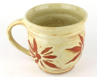 Stoneware Mug - 16 oz. Mug - Coffee Cup - Latte Mug - Tea Cup - Soft Yellow Mug - Terracotta - Pottery Mug Handmade wheel thrown pottery