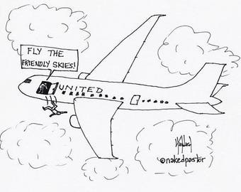 United and Fly the Friendly Skies CARTOON