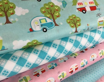 Glamping fabric, Fabricshoppe GlamperLicious fabric, Camping Camper Aqua fabric, Camp Hike, Vintage Camper Aqua by Riley Blake, Bundle of 6
