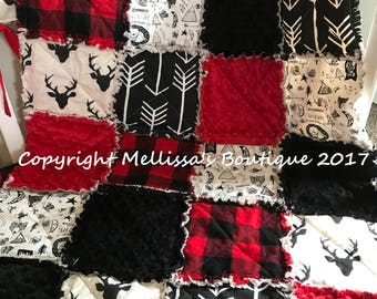 Rustic Lodge Woodland Buffalo Plaid Deer Red & Black Baby Travel Rag Quilt Photo Prop Bedding MADE TO ORDER