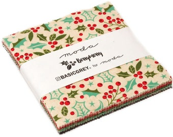 """Berry Merry Moda Charm Pack 42 - 5"""" precut fabric quilt squares by BasicGrey"""