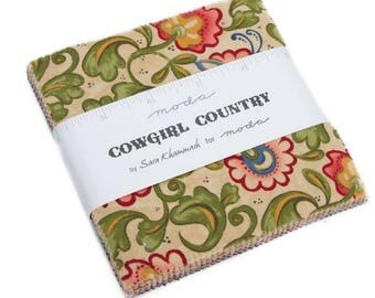 "Cowgirl Country Moda Charm Pack 42 - 5"" precut fabric quilt squares by Sara Khammash"