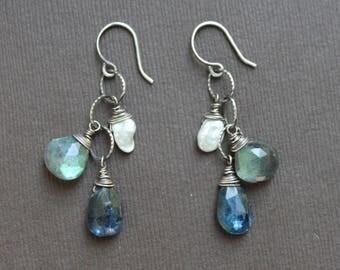 Kyanite Labradorite Drops Keishi FW Pearl Oxidized Sterling Links Silver Earrings Sundance Style