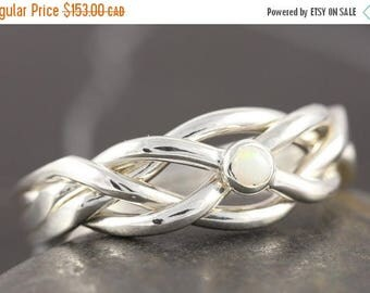 MATERNITY LEAVE SALE Opal puzzle ring in sterling silver - Size 8 ready to ship