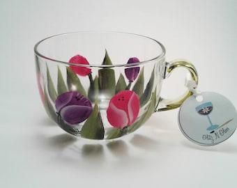 Hand Painted Pink and Purple Tulip Jumbo Glass Tea Cup
