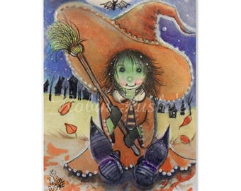 Original Festive Art Card, Happy Little Witch, ACEO