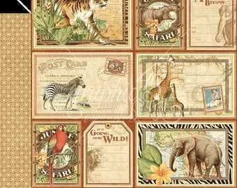 NOW ON SALE Graphic 45 Safari Adventure Jungle Expedition Scrapbook Paper