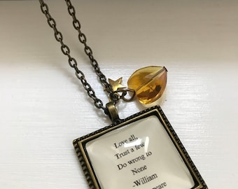 Love all, trust a few William Shakespeare inspired quite literary necklace