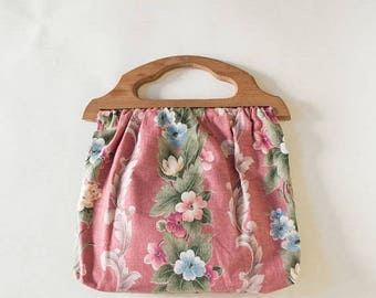 20% OFF 1960s Knitting Bag --- Vintage Floral Handbag