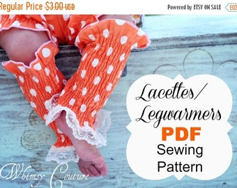 SALE Legwarmers Pattern -- Lacettes/ Legwarmers -- cotton & knit fabric babies, toddlers, girls, ladies Instant