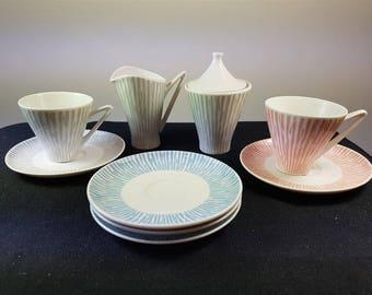 Vintage Art Deco Alka Kunst German Tea Cups and Saucer Sugar Bowl and Creamer Set  1930's