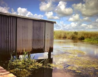 Louisiana Bayou Photography, Boathouse, Southern Louisiana, Fishing Art, Nature Photography, Abandoned Building, Swamp, Cajun Decor, Creole