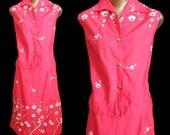 Vintage 60s Hawaii Blouse and Skirt Set Peggy Wood Honolulu, 1960s Hawaiian Cherry Border Print Shirt and Skort, Coral Pink, Size M Medium