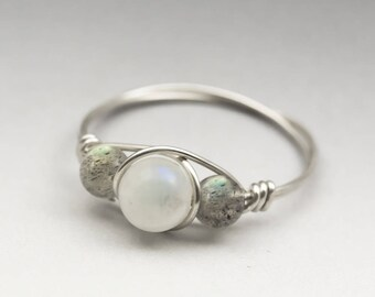Rainbow Moonstone & Labradorite Sterling Silver Wire Wrapped Bead Ring - Made to Order, Ships Fast!