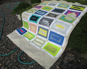 Modern Building Block Quilt and  two matching pillow cases or custom made with your choice of fabrics twin