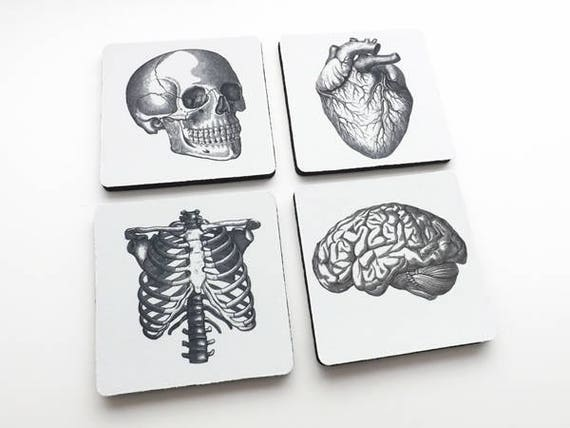 Doctor Nurse gift drink Coasters anatomy gothic home decor school dorm doctor anatomical thank you physician assistant geek goth mug mat rug