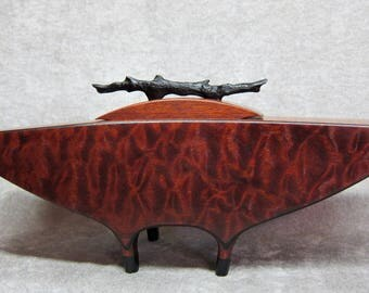"""Quilted African Sapele """"Journey"""" Lidded Vessel hand carved Ebony twig handle"""