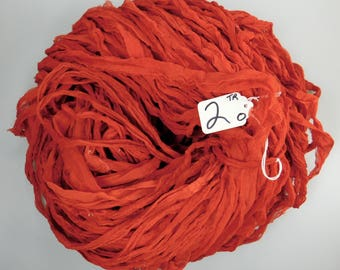 Silk Sari ribbon, Chiffon silk sari ribbon, Sari Silk ribbon, tassel supply, Red sari ribbon, weaving supply, knitting supply