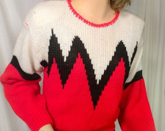 Vintage Sweater red white zig zag 70s 80s abstract ski winter sweater