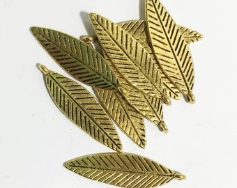 16 pcs antique gold double sided feather drop 30x10mm, alloy feather charm, antique gold feather charm
