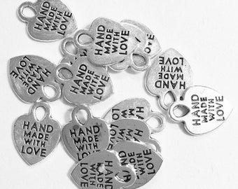 20 pcs  antique silver 'made with love' charm 11x8mm, antique silver massage charm, alloy heart charm