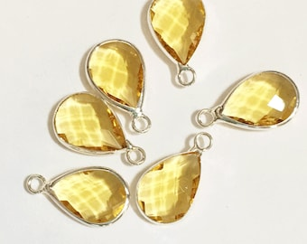 4 glass faceted teardrop pendant with silver frame, Yellow Citrine color glass drops 18x11mm, framed glass teardrops