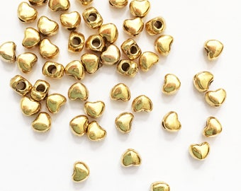 100 antique gold alloy spacer beads, antique gold heart spacer beads 3x3mm