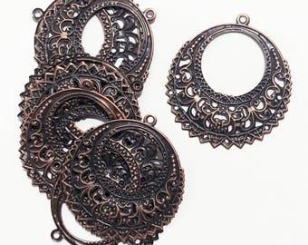 Bulk 100 pcs  antiqued copper filigree round 41x38mm, matte copper filigree round drop, antique copper filigree drop