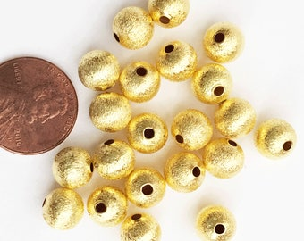 50 pcs of Gold plated round brushed beads 8mm, gold plated spacer beads, gold plated brushed beads