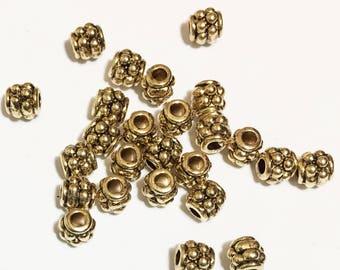 Bulk 500 pcs of antique Gold Drum spacer beads 4x4mm,  metal spacer beads