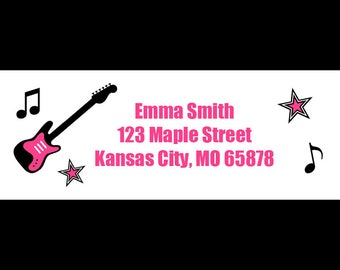 30 Personalized Rock Star Address Labels - Rock and Roll Party - Guitar Labels