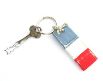 Boat Key Fob, Sailor's Keychain, Wooden Key Ring, Nautical Key Fob, 5th Anniversary Gift, Nautical Keychain, Red White and Blue