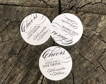 50 Wedding Drink Tickets - Redeem for a Drink Coupon - Party Bar Tickets - Round Formal - One Drink - Admit one Drink Token - Personalized