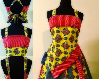 Hippie Patchwork Dress Skirt/Top Denim, Red, and Yellow