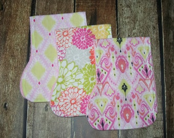 GOING OUT of BUSINESS Sale, Set of 3 Contoured Burp Cloths, Ready to ship, Burps