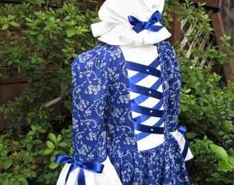 Girls Size  6/8 Colonial dress and cap.. Williamsburg costume  (PLEASE read full description with measurements)