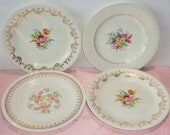 """Mismatched Plates 4 Dinner 9"""" Fine China Ivory Gold Fancy Dishes Central Floral Designs"""