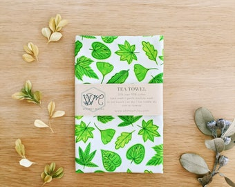 Green Leaves Tea Towel . Kitchen Towel . Linen Cotton . Dish Cloth . Gift for Her . Housewarming Gift . Napkin . Botanical Plant Lover