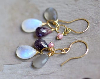 14kt Gold Moonstone Earrings -  Gray Moonstone Earrings - Pink Sapphire Earrings - Mixed Stone Earrings - Gold Link Earrings Earrings