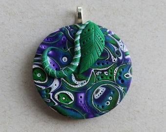 Mokume Gane Polymer Clay Pendant in Peacock Blue, Purple, Green and White, Handmade Jewelry Component