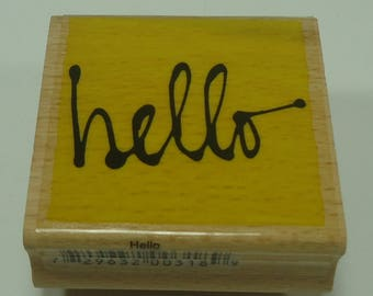Hello Wood Mounted Rubber Stamp From Vap Scrap