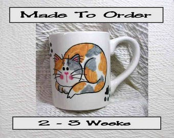 Dilute Calico Cat Mug Made To Order Original Handmade With Paws On Back by GMS