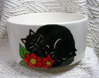 Black Cat In Flowers Pet Bowl With Paw Prints Inside Medium Handmade 20 Oz. Ceramic GMS